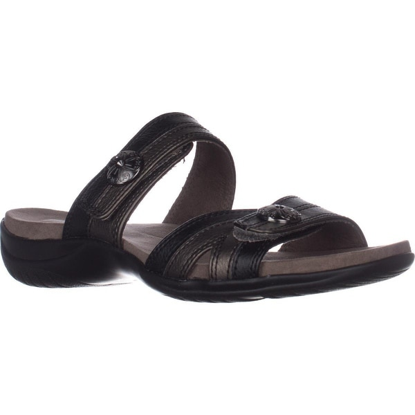 Easy Street Ashby Flat Comfort Slide Sandals, Black/Pewter