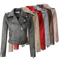 STYLEDOME Women Suede Faux Leather Jackets Matte Motorcycle Coat Outwear