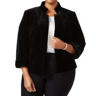 Tahari by ASL NEW Black Women's Size 22W Plus Velvet Open-Front Jacket