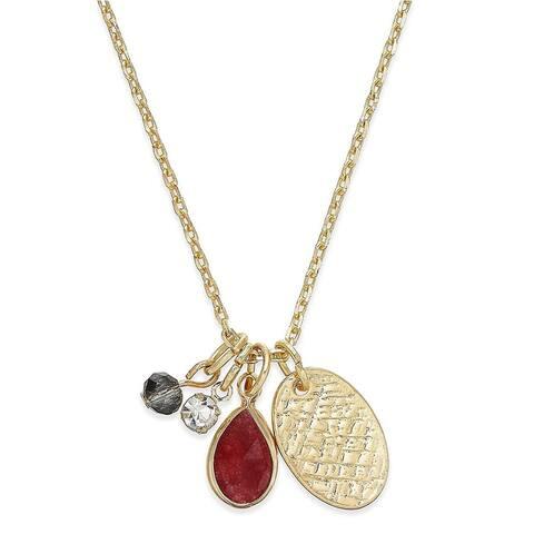Inspired Life Gold-Tone Multi-Charm Stone Pendant Necklace Dark Red - Medium