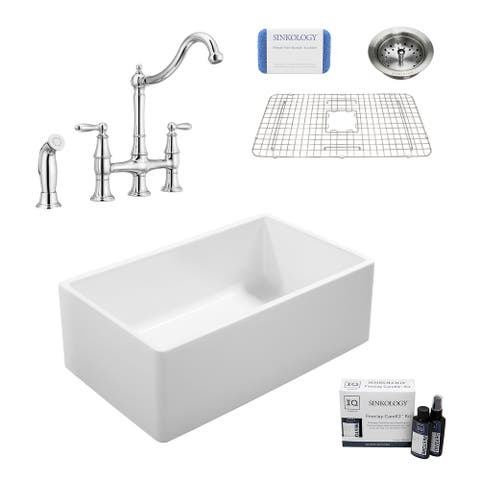 Ward All-in-One Farmhouse Fireclay 33 in. Single Bowl Kitchen Sink with Pfister Bridge Faucet in Chrome and Drain