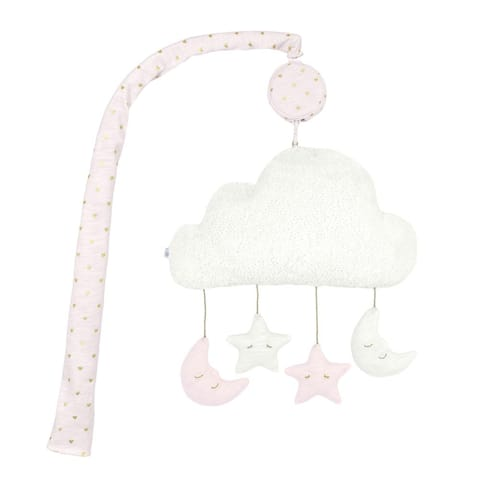 Just Born Sparkle Musical Mobile for Baby Girl Nursery Decor, Pink Stars & Moon - Pink Stars - One Size