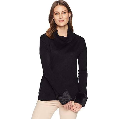 Ivanka Trump Women's Turtleneck Sweater w/Fur Cuffs, Black, X-Large