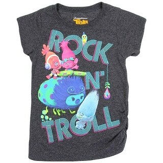 "Trolls Little Girls Charcoal ""Rock N' Troll"" Print Short Sleeve T-Shirt"