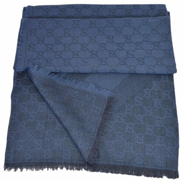 Gucci 359905 Nile Blue XL Wool Silk Web Stripe GG Guccissima Scarf Muffler  - 53