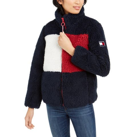 Tommy Hilfiger Womens Teddy Coat Faux Fur Warm - Navy