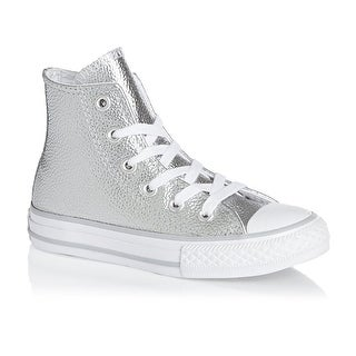 aa614d7bae40ee Shop Converse Kids Chuck Taylor All Star Hi Top Fashion Sneaker Shoe - Pure  Silver White Leather - Girls - 2 - Free Shipping Today - Overstock -  18279895