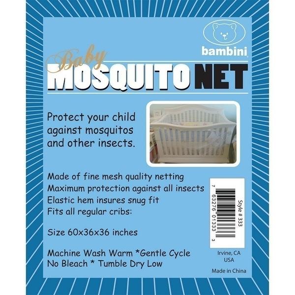 Bambini Baby Unisex White Elastic Hem Mesh Crib Mosquito Net