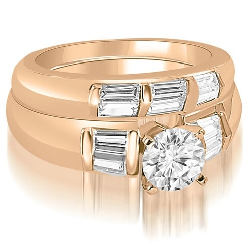 1.85 cttw. 14K Rose Gold Round And Baguette Cut Diamond Bridal Set