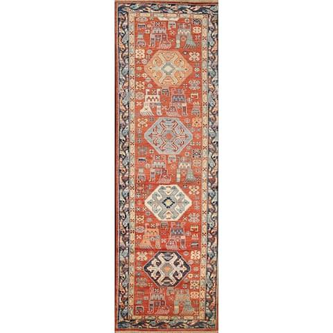 """Tribal Geometric Heriz Serapi Oriental Runner Rug Wool Handmade Carpet - 2'7"""" x 9'9"""""""
