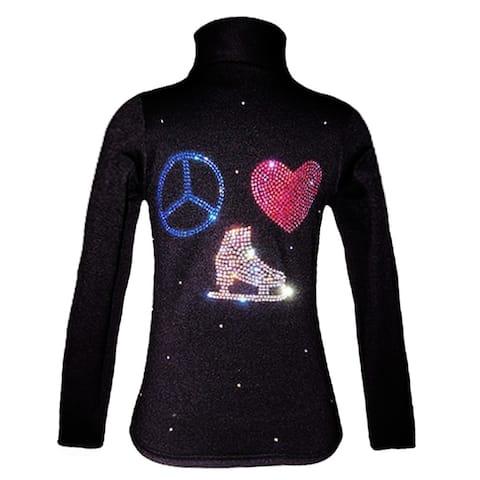 Ice Fire Skate Wear Black Jacket Peace Love Crystal Girl 4-Women L