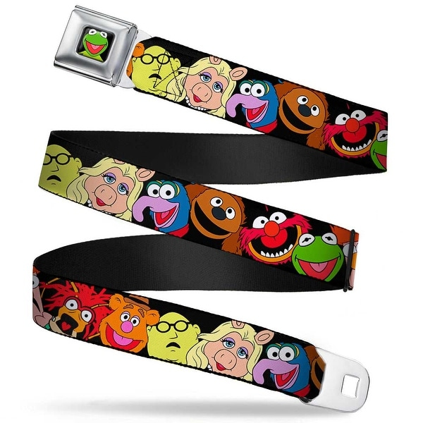 Kermit Face Full Color Black Muppets Faces Black Webbing Seatbelt Belt Seatbelt Belt