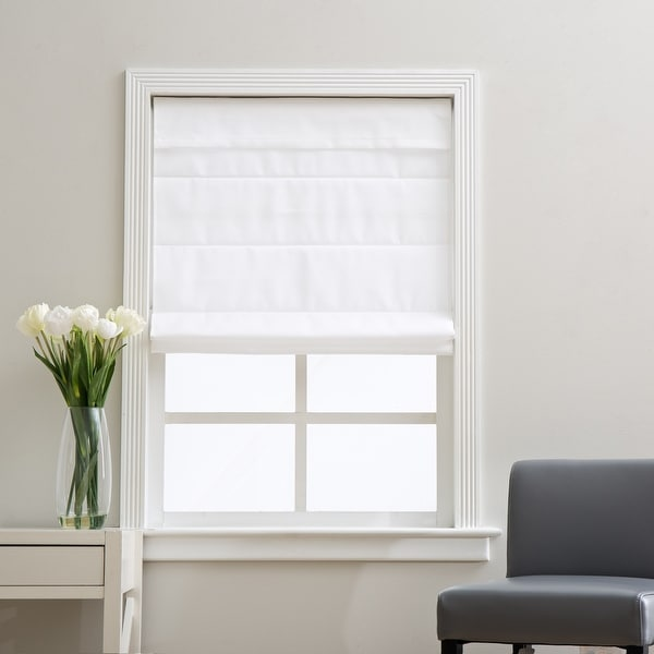 Arlo Blinds Cloud White Light Filtering Cordless Lift Fabric Roman Shades. Opens flyout.