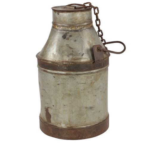 """Large Antique Silver and Rusted Metal Milk Drum with Lid from India 12.5"""" x 21.5"""" - 13 x 13 x 22"""