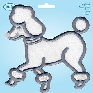 Large Poodle; White W/Gray Embroidery - Wrights Iron-On Applique
