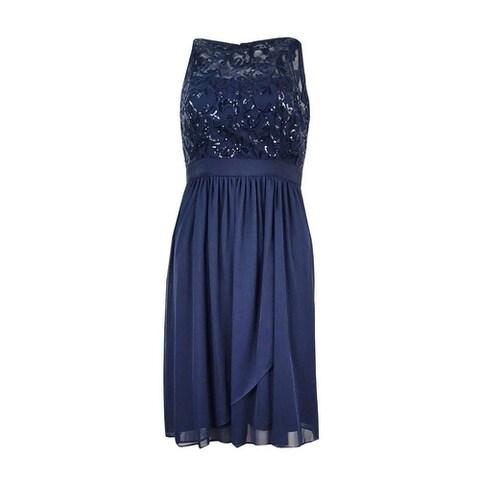 Adrianna Papell Women's Sequined Chiffon Dress - Midnight