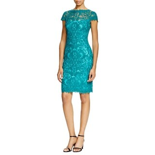 Tadashi Shoji Womens Petites Cocktail Dress Lace Sheath