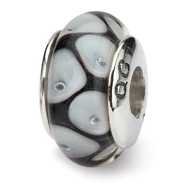 Sterling Silver Reflections Black/Grey Hand-blown Glass Bead (4mm Diameter Hole)