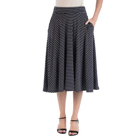 24seven Comfort Apparel Waistband Polka Dot A Line Midi Skirt with Pockets R002557DOT
