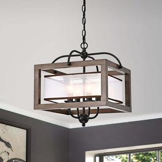 Link to Alina Antique Black Metal Natural Wood Chandelier with Fabric Shade Similar Items in Chandeliers
