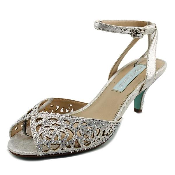 Betsey Johnson Raven Women Peep-Toe Canvas Silver Slingback Heel
