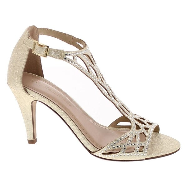 City Classified Women's Maggie Rhinestoned Formal Heel - gold fabric