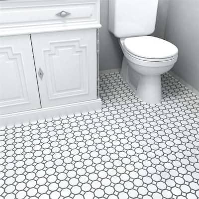 "SomerTile Metro Octagon Matte White w/White Dot 11-1/2"" x 11-1/2"" Porcelain Mosaic"