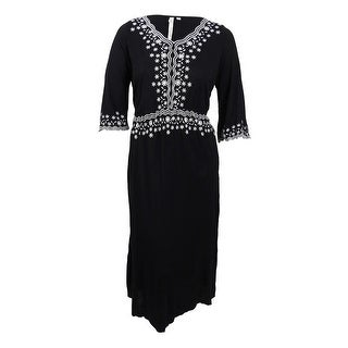NY Collection Women's Plus Size Embroidered Maxi Dress - Black