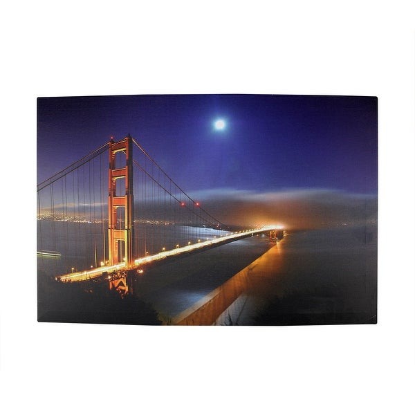 "LED Lighted Famous San Francisco Golden Gate Bridge Canvas Wall Art 15.75"" x 23.5"""