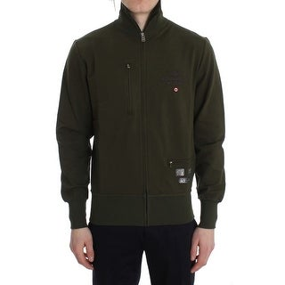 Aeronautica Militare Aeronautica Militare Green Cotton Stretch Full Zipper Sweater