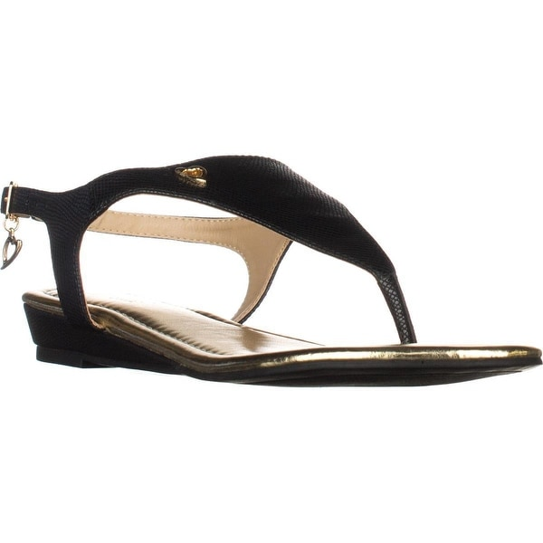 TS35 Isaa Thong Wedge Ankle Strap Sandals, Black