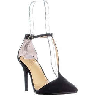 TS35 Gracee Pointed Toe T-Strap Pumps, Black Micro