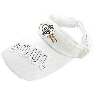 Unique Bargains Ladies Tennis Golf Adjustable Head Band White Visor Cap