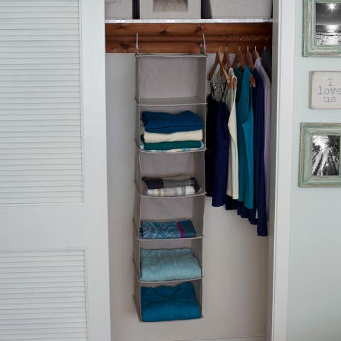 Household Essentials Hanging Shelf Closet Organizer, Canvas