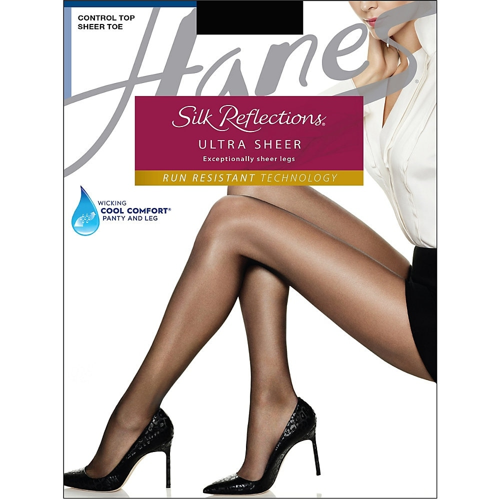 Hanes Silk Reflections Silky Sheer Non Control top Sheer toe Size CD Jet