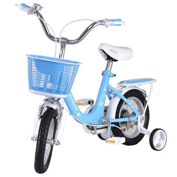 """16/"""" Kids Bike Bicycle Children Boys /& Girls with Training Wheels and Basket Blue"""