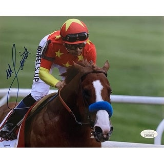 Mike Smith Signed 8x10 Belmont Stakes Photo JSA DD07065
