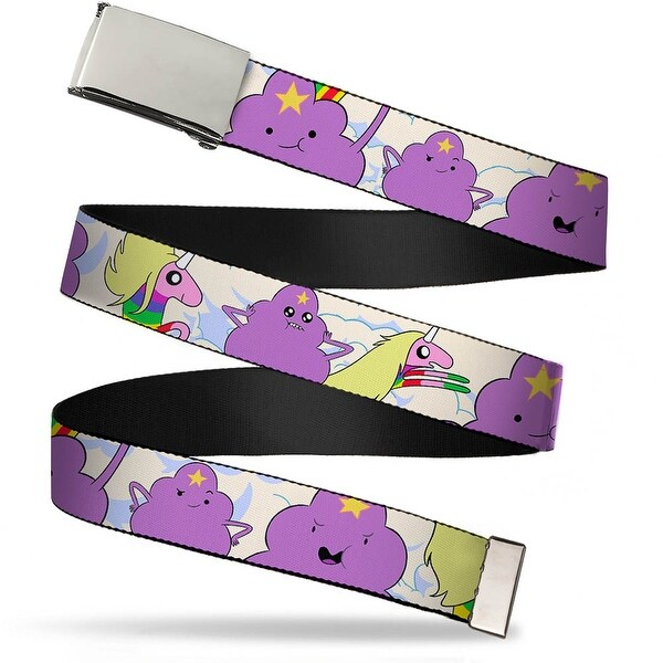 Blank Chrome Bo Buckle Lumpy Space Princess & Lady Rainicorn In Clouds Web Belt