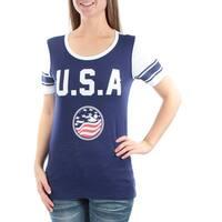 FREEZE Womens Blue Printed Short Sleeve Jewel Neck T-Shirt Top  Size: S