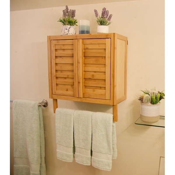 Porch & Den Burning Tree Solid Bamboo 2-door Wall Mount Spa Cabinet (As Is Item). Opens flyout.