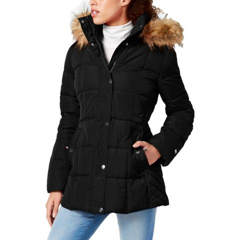 Tommy Hilfiger Womens Petites Puffer Coat Faux Fur Winter - Black - PXS