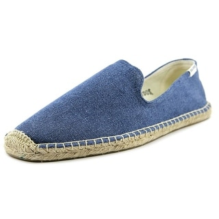 Soludos Smoking Slipper Men  Round Toe Canvas Blue Espadrille