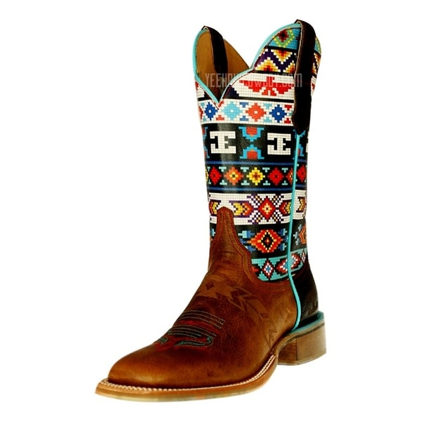 Cinch Western Boots Womens Edge Tribal Beaded Aztec Square Tan