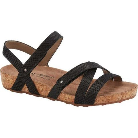 70da1cf951cb Walking Cradles Women s Pool Strappy Sandal Black Matte Snake Print Cork