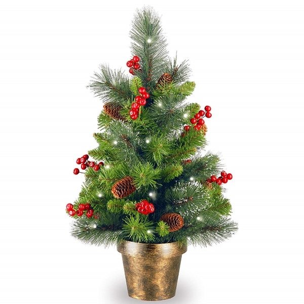 """Excellent 2' x 14"""" Pre-Lit Crestwood Spruce Medium Artificial Christmas Tree  WY49"""