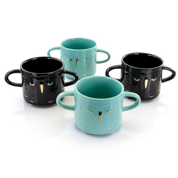Gibson Home Lashes 4 Piece 24.5 Ounce Stoneware Figural Mug Set in Teal and Black. Opens flyout.