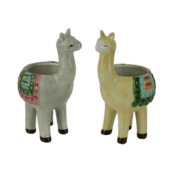 Colorful Festive Llama Love Decorative Planters Set of 2 Small - 7.75 X 4.5 X 3.75 inches