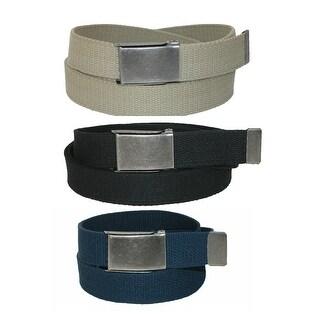 CTM® Men's Fabric Belt with Flip Top Nickel Buckle (Pack of 3) - One Size