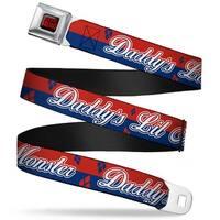 Suicide Squad Logo Full Color Black Red Harley Quinn Daddy's Little Monster Seatbelt Belt