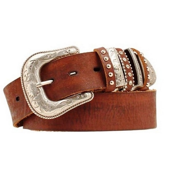 Nocona Western Belt Womens Leather Bling Keepers Peanut